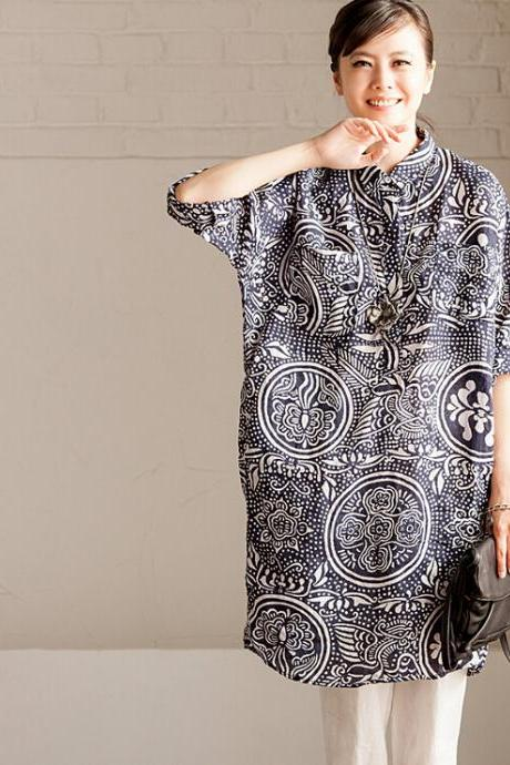 Women Plus Size Shirt Loose Sundress Casual Summer Tops