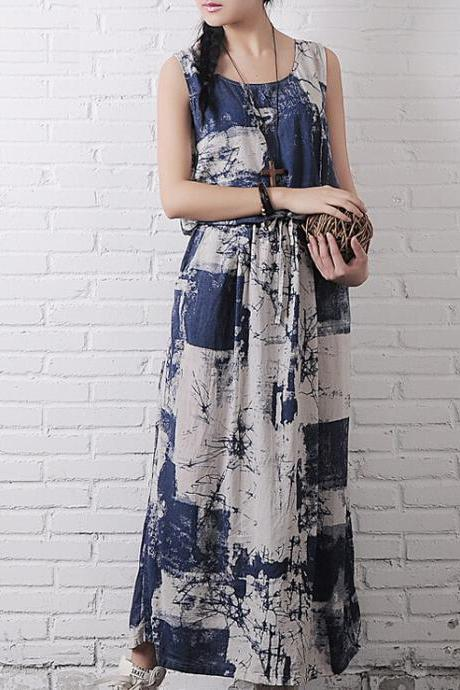 Women Vest Long Skirt Sleeveless Casual Long Dress