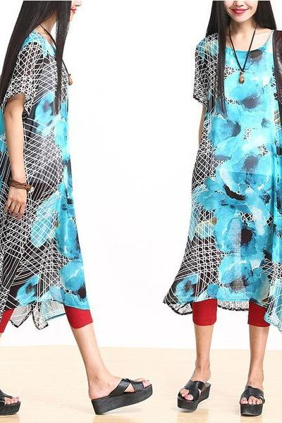 Blue Loose Boho Chiffon Batwing Maxi Long Dress