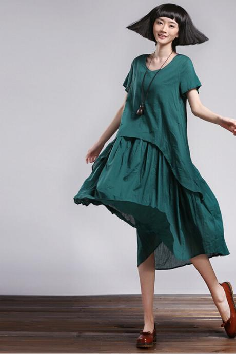 Green Women Casual Maxi Long Dress Loose Cotton Skirt