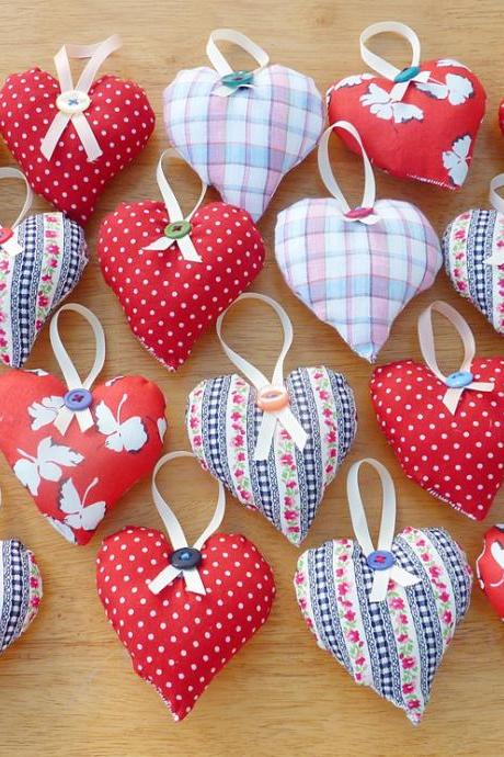 3 Hanging heart decorations.