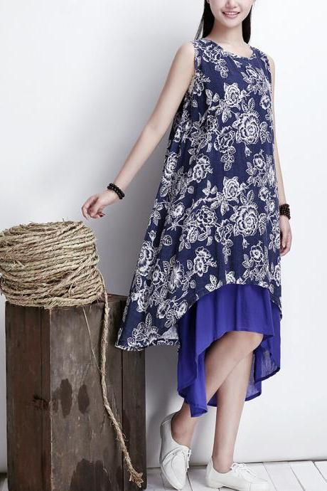 Navy Blue Two Layers Women Vest Cotton Long Summer Skirt