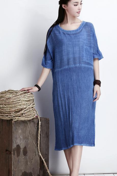 Blue Women Thin Cotton Maxi Dress Plus Size Long Skirt
