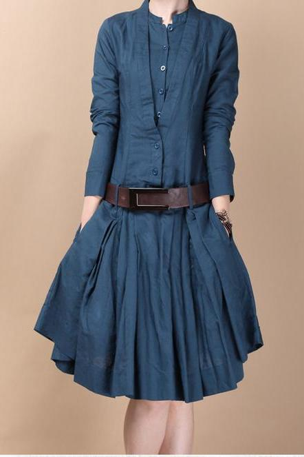 5 Colors Women Shirt Skirt Casual Long Dress Blue
