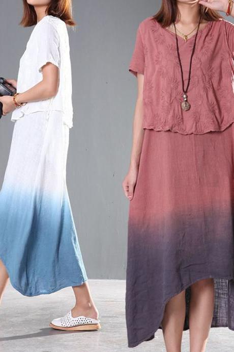 Two Layers Skirt Embroideried Long Skirt Loose Summer Dress