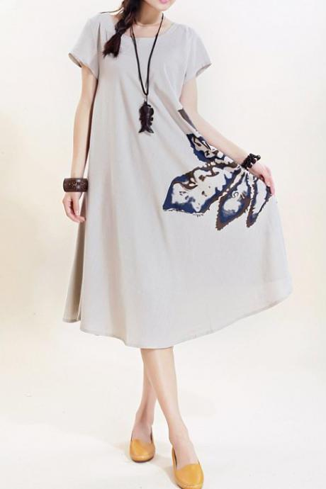 Women linen long sundress summer skirt loose Robe