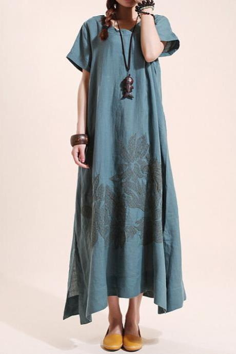 Summer maxi dress Loose linen Short sleeve long dress robe