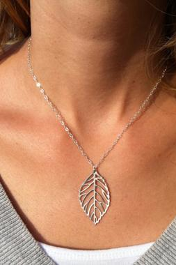 Beautiful Leaf Charmed Silver Necklace