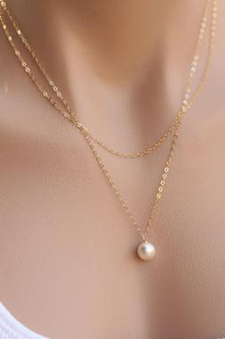 Elegant Multi Layer Pearl Charmed Necklace