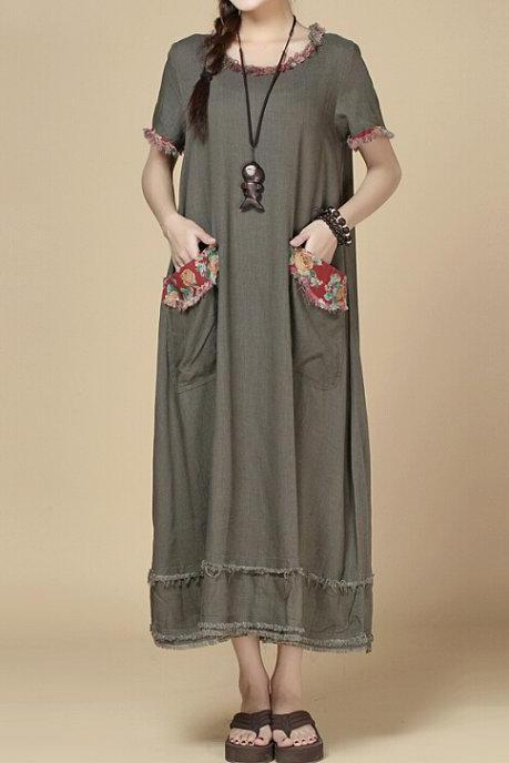 oversize Loose Maxi Dress Khaki/fuchsia Long Dress