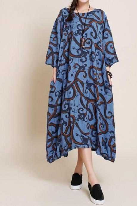 Women leisure Big swing dress Maxi Long dress robe