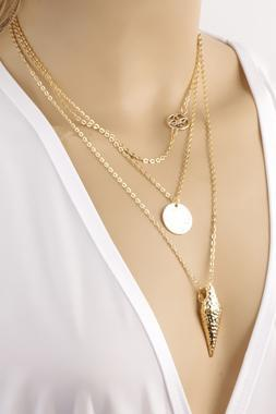 Golden Arrow Head Multi Layer Necklace