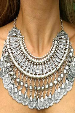 Silver Vintage Bohemian Statement Necklace