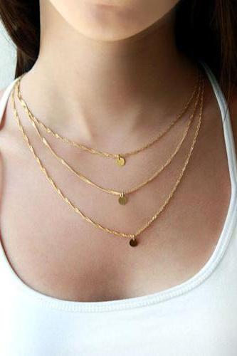 Beautiful Multi Layered Gold Necklace
