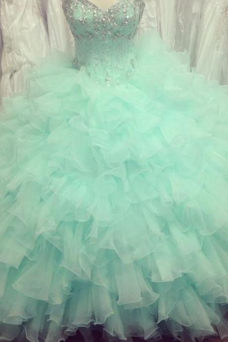 Puffy Mint Green Ball Gown Prom Dresses Organza Beaded Ruffled Quinceanera Dresses, Quinceanera Dress, Prom Gowns, Formal Gowns,