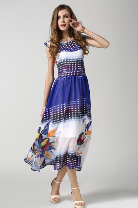 HOT SALE Euro Style Polka Dot Large Flower High Waisted Chiffon Dress for women
