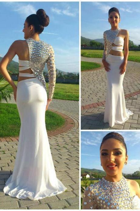 Custom Made White Long Prom Dresses 2015 Mermaid One Shoulder Long Sleeve Open Waist Party Dresses Chiffon Prom Gowns Beaded Crystals