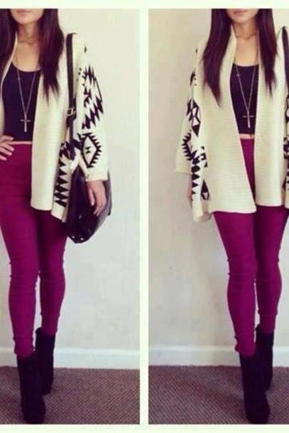 LOOSE PRINTING FASHION SWEATER