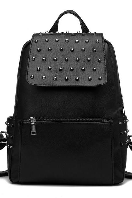 Black Leather Backpack With Rivets Details