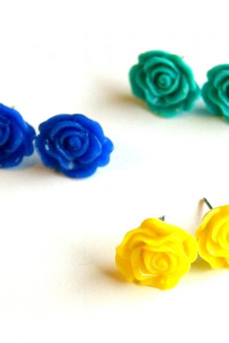 Rose Flower Stud Earring Set