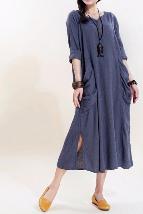 Simple big pocket linen Plus size maxi dress