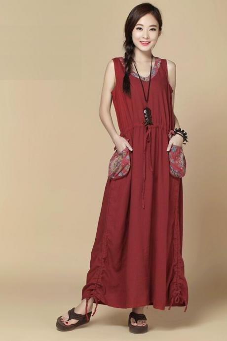 Women Sundress Loose Long dress Sleeveless maxi dress