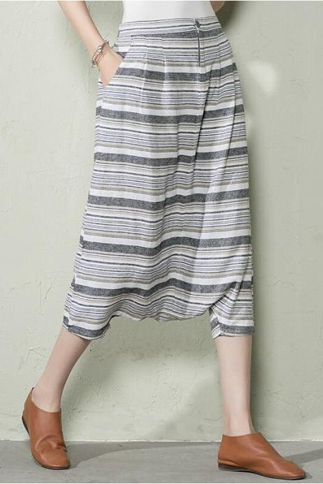 Women Haroun Pants Plus Size Summer Cotton Pants Blue Stripe