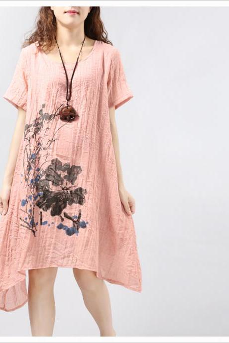 Pink Asymmetric Summer Linen Skirt Ink Loose Sundress