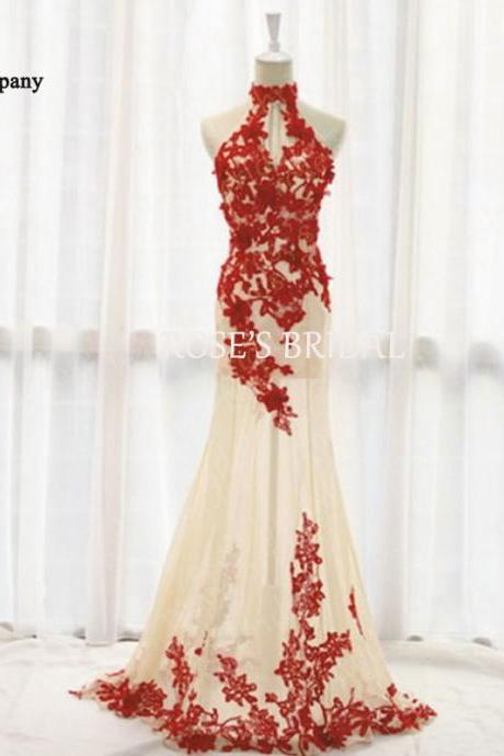 Red Lace Evening Dress, Sexy Evening Dresses, Long Evening Dress, Mermaid Evening Dress, Cheap Evening Gowns, Elegant Prom Dresses
