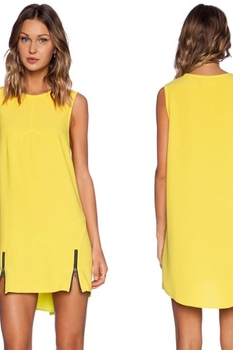 *Free Shipping* Women Office Work Wear Loose Dress Zipper Chiffon Dresses Yellow Color Irregular Dress 12
