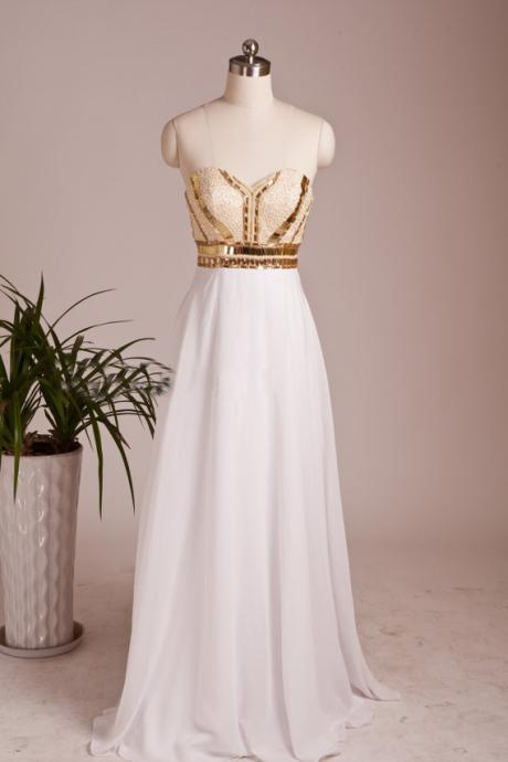 Free Shipping 2015 New PROM Dress White the Beaded Backless Party Formal PROM Dresses and Gold Sequins Coat Dresses