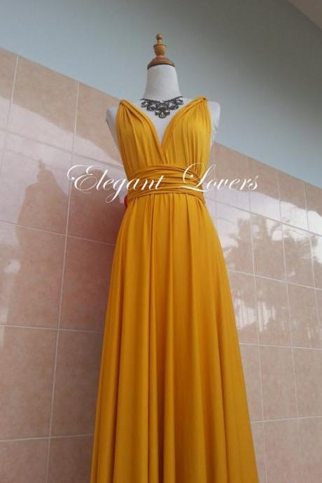 Golden Yellow Color Bridesmaid Dress Wedding Dress Infinity Dress Wrap Dress Formal Dress Sexy Evening Dress Cocktail Dress Party Dress