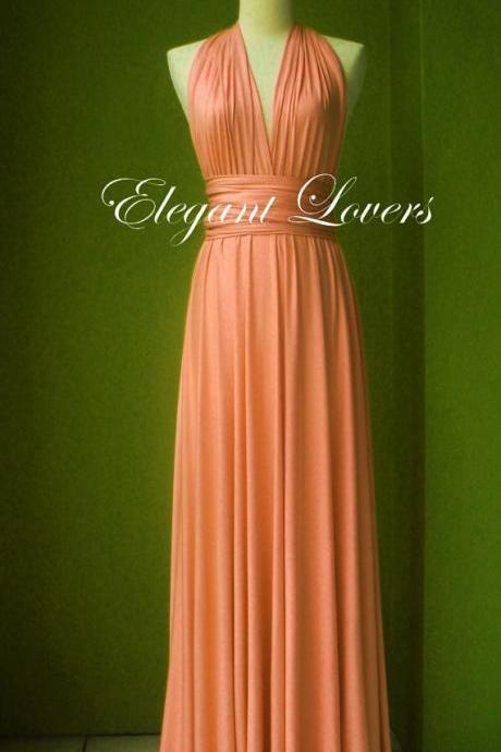 Coral Dress Wedding Dress Bridesmaid Dress Infinity Dress Wrap Dress Formal Dress Sexy Evening Dress Cocktail Dress Party Dress