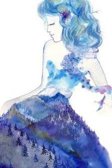 Jazz 8x10 Fine Art Print feminine spirit watercolor painting blue snow Whistler mountain woman Canadian Rockies Vancouver Oladesign artist Olga Cuttell