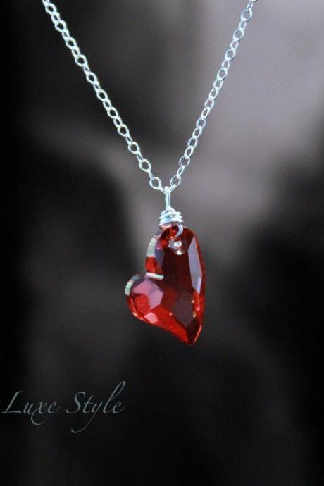Heart Pendant in Red Swarovski Crystal Sterling Silver 18' Chain Included