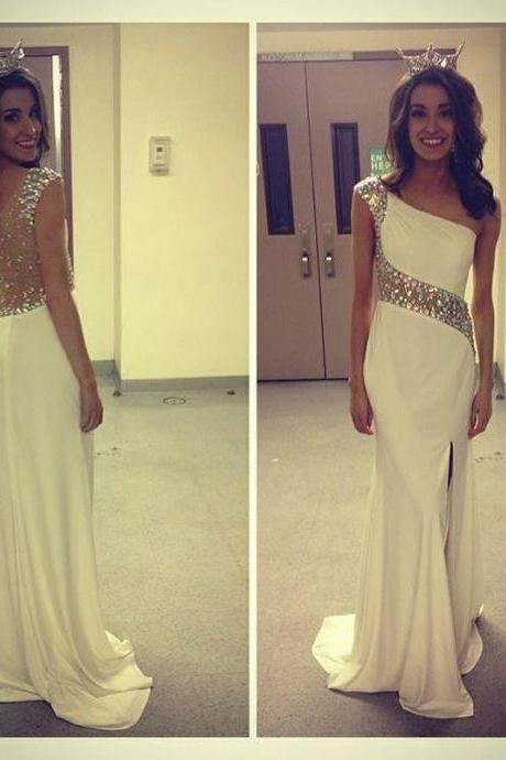 Sparkly One Shoulder Prom Dress, White Prom Dresses, Mermaid Prom Dress, Long Prom Dresses, Chiffon Prom Dress, Backless Evening Dress, Formal Dresses
