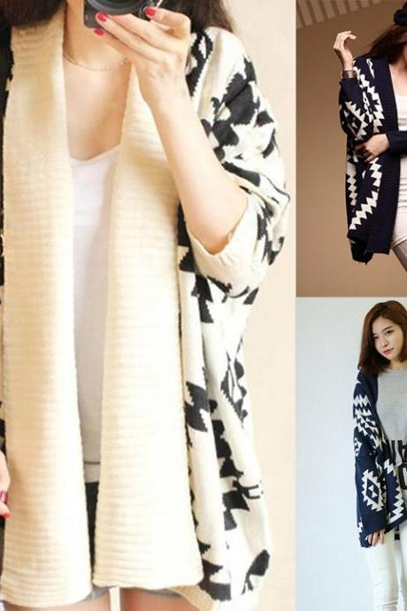 Geometric Pattern Open Loose Cape Cardigan
