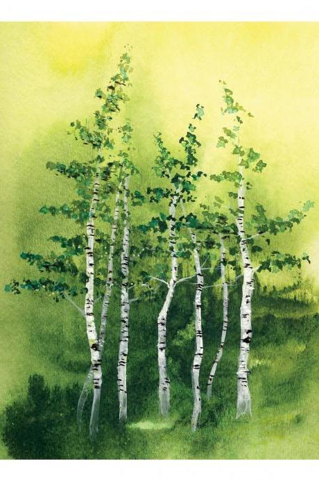 8x10 'Tranquil Grove' Fine Art Print birch trees woods forest natural landscape green leaves ink watercolor painting Vancouver Oladesign