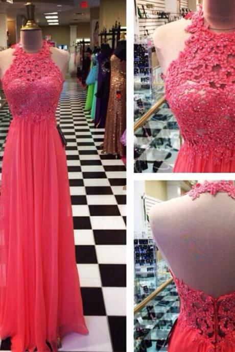 Custom Made A Line Halter Neck Floor Length Lace Prom Dresses, Dresses for Party, graduation dresses, Dresses for Prom, Formal Dresses