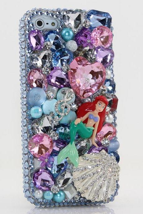 Bling Crystals Phone Case for iPhone 6 / 6s, iPhone 6 / 6s PLUS, iPhone 4, 5, 5S, 5C, Samsung Note 2, Note 3, Note 4, Galaxy S3, S4, S5, S6, S6 Edge, HTC ONE M9 (UNDER THE SEA MERMAID AND SHELL DESIGN) By LuxAddiction