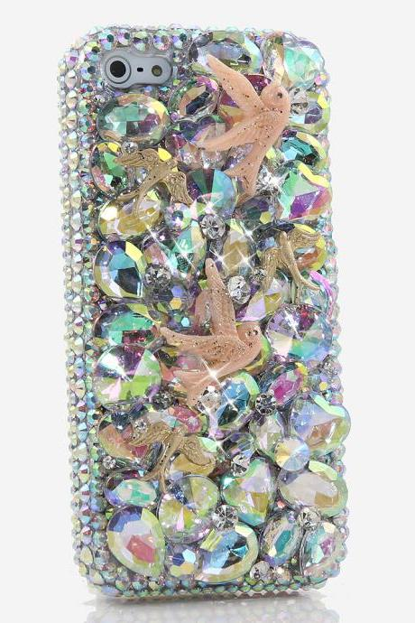Bling Crystals Phone Case for iPhone 6 / 6s, iPhone 6 / 6s PLUS, iPhone 4, 5, 5S, 5C, Samsung Note 2, Note 3, Note 4, Galaxy S3, S4, S5, S6, S6 Edge, HTC ONE M9 (AB CRYSTALS DOVE DESIGN) By LuxAddiction