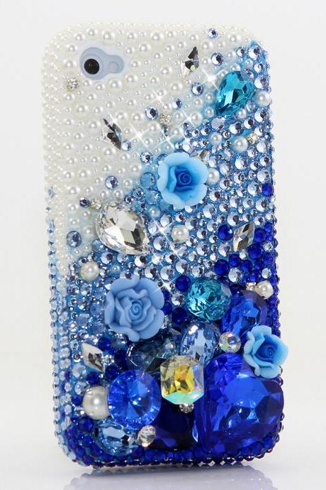 Bling Crystals Phone Case for iPhone 6 / 6s, iPhone 6 / 6s PLUS, iPhone 4, 5, 5S, 5C, Samsung Note 2, Note 3, Note 4, Galaxy S3, S4, S5, S6, S6 Edge, HTC ONE M9 (PEARLS WITH DEEP BLUE DESIGN) By LuxAddiction