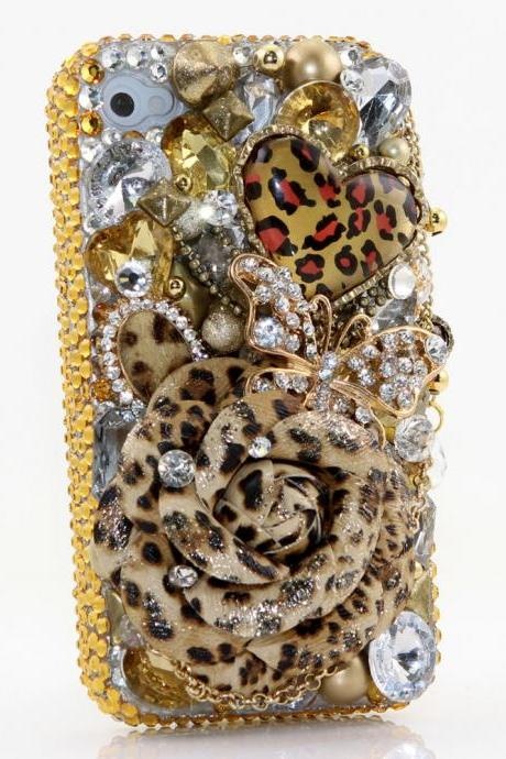 Bling Crystals Phone Case for iPhone 6 / 6s, iPhone 6 / 6s PLUS, iPhone 4, 5, 5S, 5C, Samsung Note 2, Note 3, Note 4, Galaxy S3, S4, S5, S6, S6 Edge, HTC ONE M9 (LEOPARD LOVERS DESIGN) By LuxAddiction