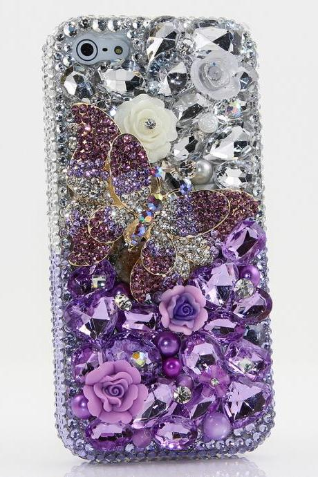 Bling Crystals Phone Case for iPhone 6 / 6s, iPhone 6 / 6s PLUS, iPhone 4, 5, 5S, 5C, Samsung Note 2, Note 3, Note 4, Galaxy S3, S4, S5, S6, S6 Edge, HTC ONE M9 (SINGLE LAVENDAR BUTTERFLY DESIGN) By LuxAddiction