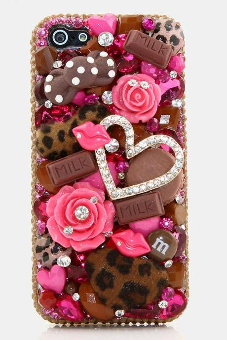 Bling Crystals Phone Case for iPhone 6 / 6s, iPhone 6 / 6s PLUS, iPhone 4, 5, 5S, 5C, Samsung Note 2, Note 3, Note 4, Galaxy S3, S4, S5, S6, S6 Edge, HTC ONE M9 (CHOCOLATE KISSES DESIGN) By LuxAddiction