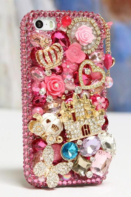Bling Crystals Phone Case for iPhone 6 / 6s, iPhone 6 / 6s PLUS, iPhone 4, 5, 5S, 5C, Samsung Note 2, Note 3, Note 4, Galaxy S3, S4, S5, S6, S6 Edge, HTC ONE M9 (HOT PINK CASTLE DESIGN WITH PHONE CHARM) By LuxAddiction
