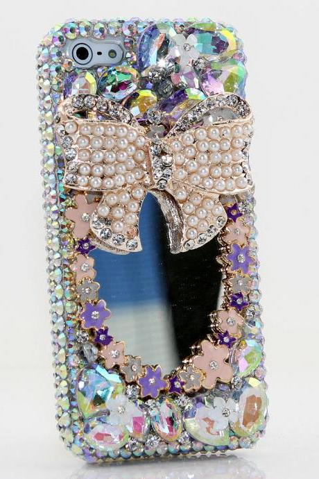 Bling Crystals Phone Case for iPhone 6 / 6s, iPhone 6 / 6s PLUS, iPhone 4, 5, 5S, 5C, Samsung Note 2, Note 3, Note 4, Galaxy S3, S4, S5, S6, S6 Edge, HTC ONE M9 (PEARL BOW MIRROR DESIGN) By LuxAddiction