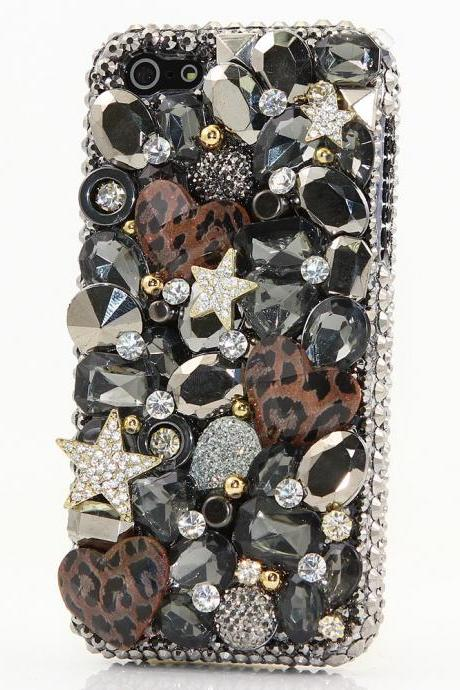 Bling Crystals Phone Case for iPhone 6 / 6s, iPhone 6 / 6s PLUS, iPhone 4, 5, 5S, 5C, Samsung Note 2, Note 3, Note 4, Galaxy S3, S4, S5, S6, S6 Edge, HTC ONE M9 (STARS AND LEOPARD HEARTS DESIGN) By LuxAddiction