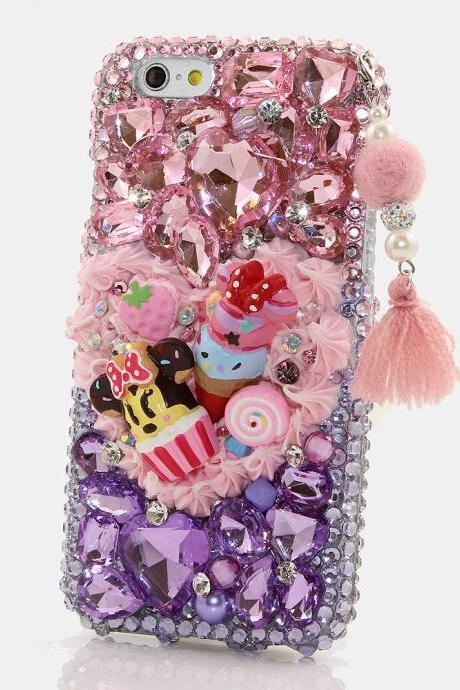 Bling Crystals Phone Case for iPhone 6 / 6s, iPhone 6 / 6s PLUS, iPhone 4, 5, 5S, 5C, Samsung Note 2, Note 3, Note 4, Galaxy S3, S4, S5, S6, S6 Edge, HTC ONE M9 (WONDER MICKEY WITH PHONE CHARM DESIGN) By LuxAddiction