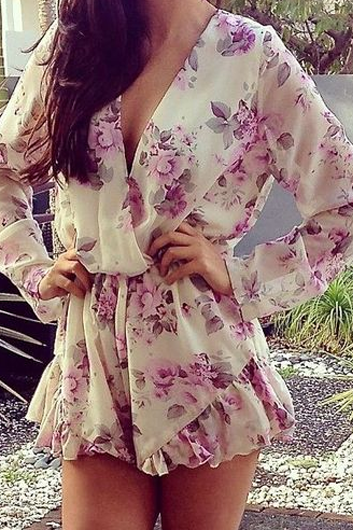 Fashion Long Sleeve Chiffon Floral Print Loose Romper
